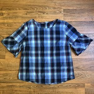 Plaid Blouse Button Back Bell by Tommy Hilfiger